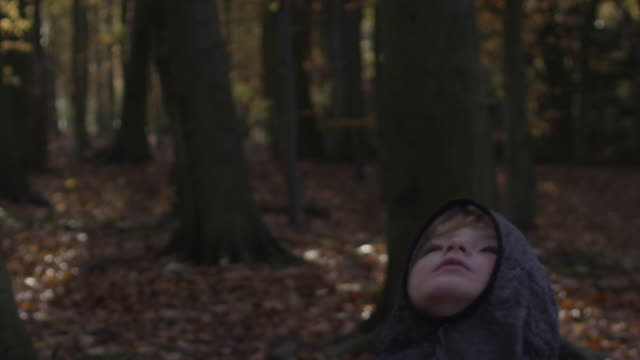 stockvideo's en b-roll-footage met slow motion close up shot of boy wearing fake chain mail balaclava looking upwards towards the tree tops. camera tilts upwards to follow his gaze. autumnal woodland setting. - meer dan 50 seconden