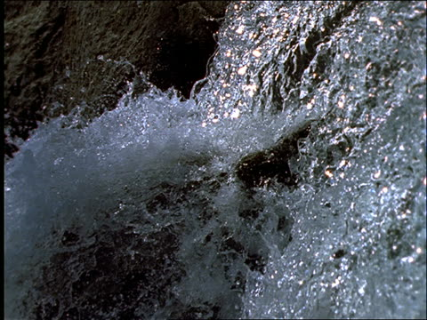 slow motion close up PAN of waterfall