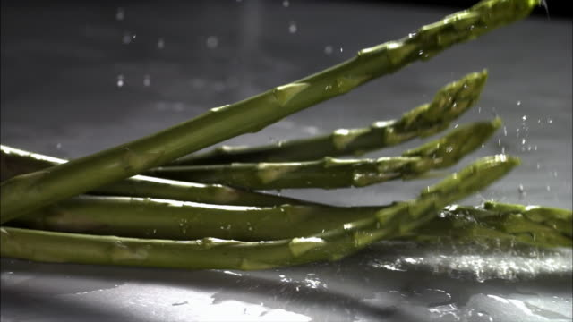 Slow motion close up wet stalks of asparagus falling