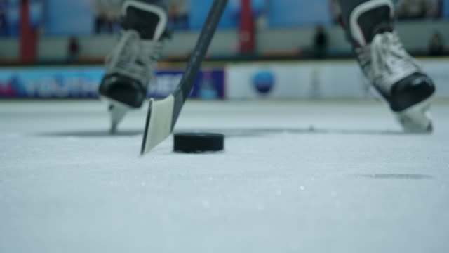4k slow motion close-up ice hockey players are practicing using hockey sticks to dribble the puck. ice hockey ice rink - stick plant part stock videos & royalty-free footage