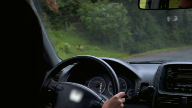 vidéos et rushes de slow motion: close-up of young woman driving a car - haut