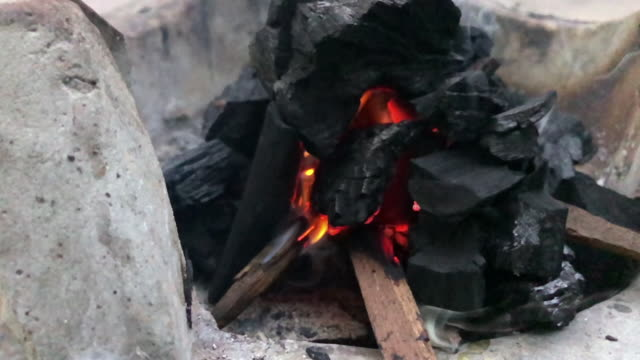 slow motion coal burning in a brazier grill for barbecue - dental grill stock videos and b-roll footage