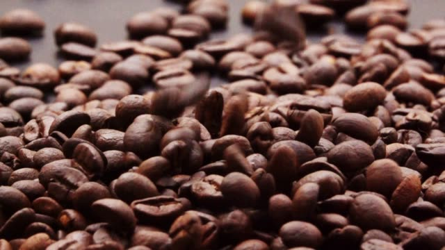slow motion coffee bean falling. - roasted coffee bean stock videos & royalty-free footage