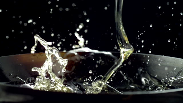 Slow motion, cooking oil