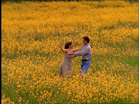 slow motion couple hugging and dancing in field of flowers / France