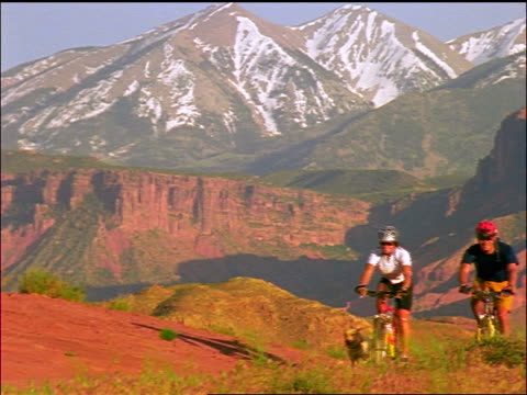 slow motion couple in helmets riding mountain bikes in mountains / dog runs with them / moab, utah - moab utah stock-videos und b-roll-filmmaterial