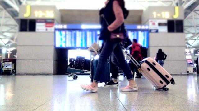 Slow motion : Crowd passenger walking in terminal