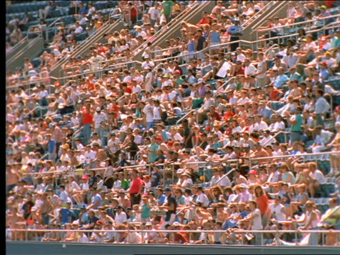 slow motion crowded shea stadium / long island, ny - shea stadium stock videos and b-roll footage