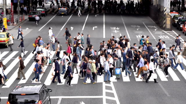 slow motion - crowds of people walking on a crosswalk - ora di punta video stock e b–roll