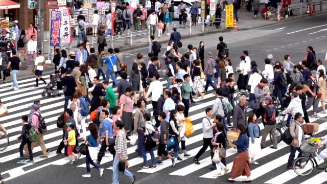 Slow Motion - Crowds of People Walking on a Crosswalk