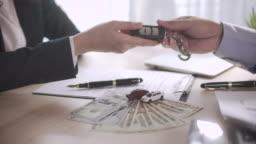 Slow motion Customer getting new car keys, Car for rental