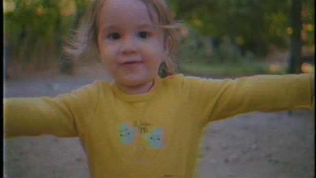 slow motion cute child running outdoor - vhs effect - video stock videos & royalty-free footage