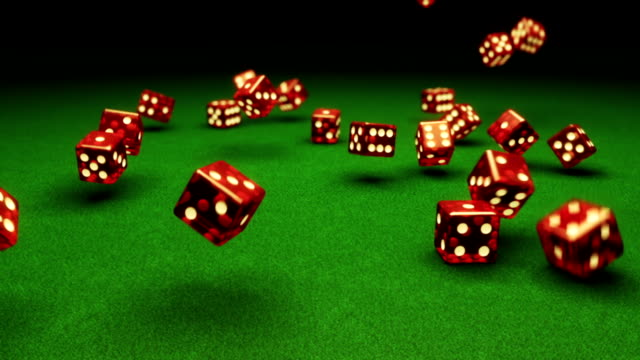 Slow motion dice falling