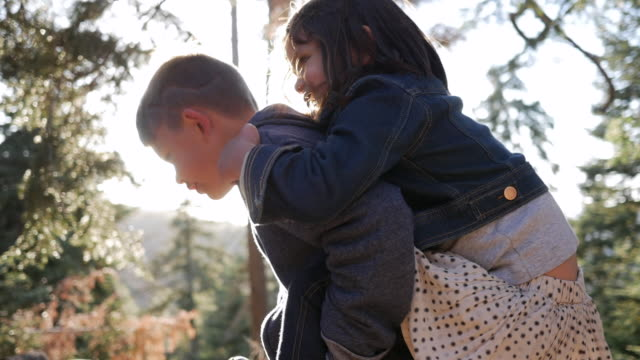 slow motion dolly shot of boy piggybacking sister in forest during sunny day - brother stock videos & royalty-free footage