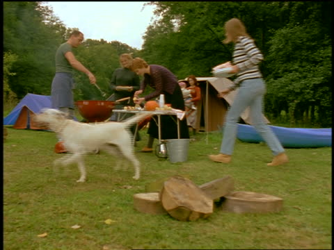 vidéos et rushes de slow motion dolly shot young people cooking at portable grill + table at camp site in wilderness - 1990 1999