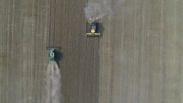 slow motion drone footage of hard red winter wheat as it is harvested with a cnh industrial new holland combine harvester and a deere & co. john... - combine harvester stock videos & royalty-free footage