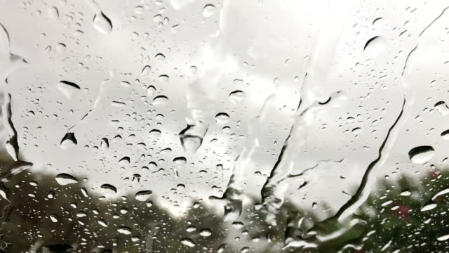 Slow Motion: Drops dripping down the glass