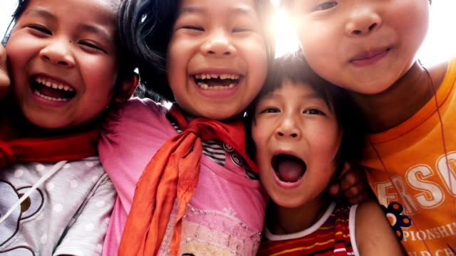 slow motion : excited asian children - asia stock videos & royalty-free footage