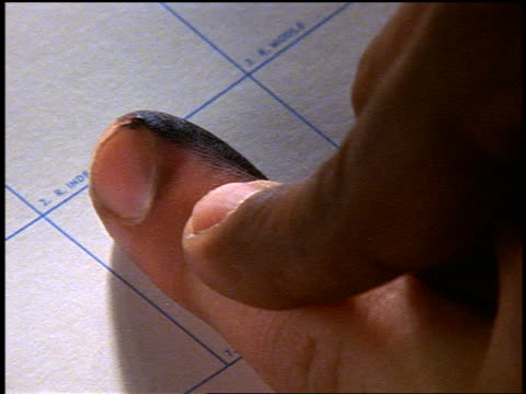 slow motion extreme close up man's finger being fingerprinted at police station - fingerabdruck stock-videos und b-roll-filmmaterial