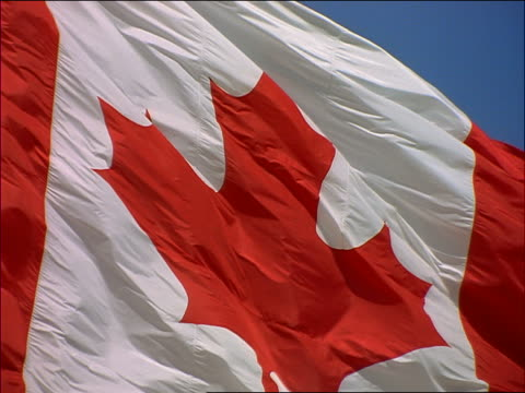 slow motion extreme close up maple leaf on Canadian flag blowing in wind