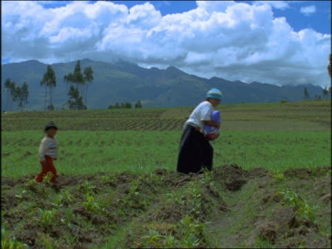 slow motion family with child sitting down in field / mountains in background / ecuador - ecuadorian ethnicity stock videos and b-roll footage
