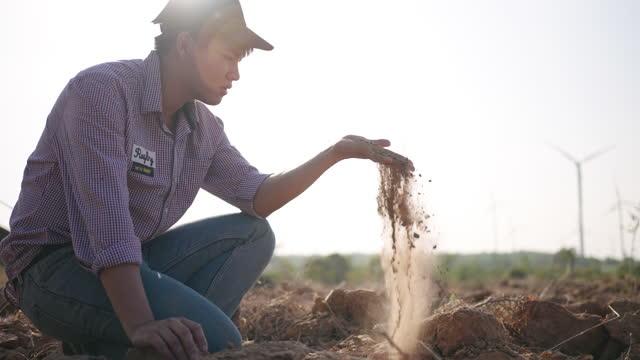 slow motion agricoltore che esamina il terreno - land video stock e b–roll