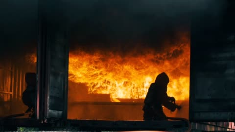 slow motion : firefighters - firefighter stock videos & royalty-free footage