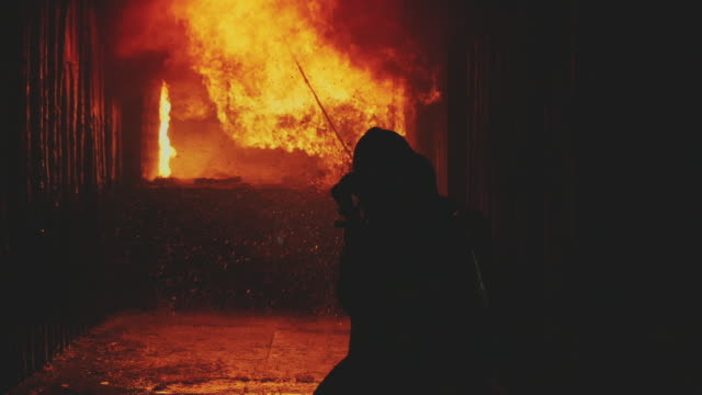 slow motion : firefighters/fireman. - hose stock videos & royalty-free footage
