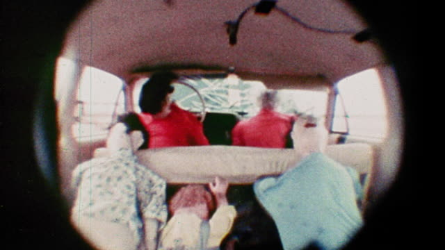 1968 slow motion fisheye rear view family of crash test dummies in car during crash test - road accident stock videos & royalty-free footage