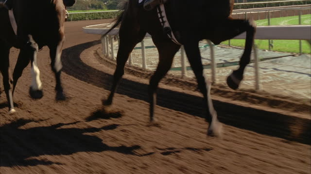slow motion follow horses running l-r around racetrack - horse racing stock videos & royalty-free footage