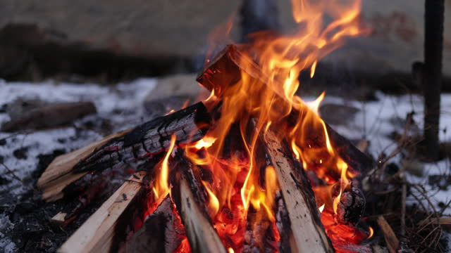 slow motion footage of bonfire - firewood stock videos & royalty-free footage