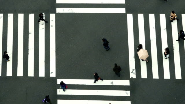 FHD Slow motion Footage of People and car Crowd with areial view pedestrains intersection cross-walk Ginza crosswalk