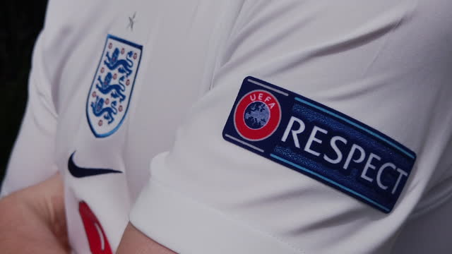 slow motion footage of the uefa respect logo and england badge on their home shirt on june 17, 2021 in manchester, united kingdom. - respect stock videos & royalty-free footage