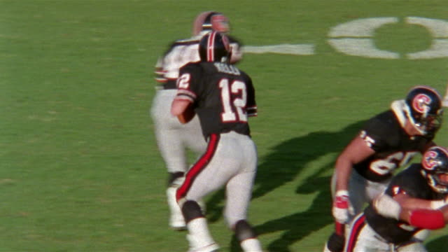 Slow Motion Football game, Tampa Bay Bandits vs Houston Gamblers (with Jim Kelly), Completed pass for touchdown, end zone dance, celebration