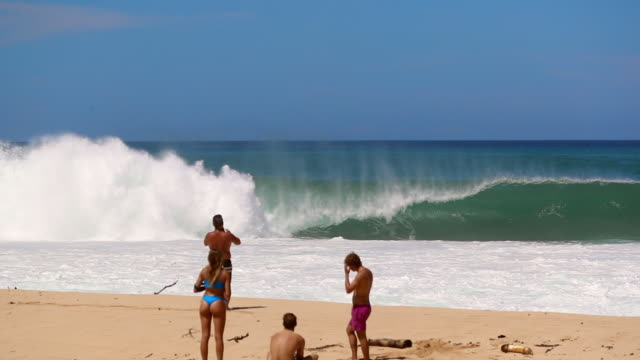 vídeos de stock, filmes e b-roll de slow motion four men & a woman on a sandy beach with wave breaking behind - pipeline wave