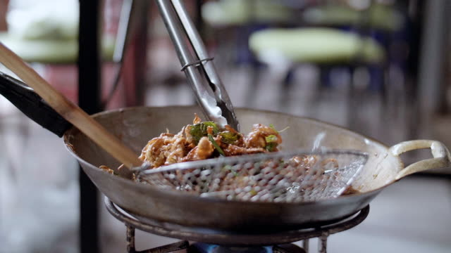 Slow Motion : Fried Food, Traditional Thai Food