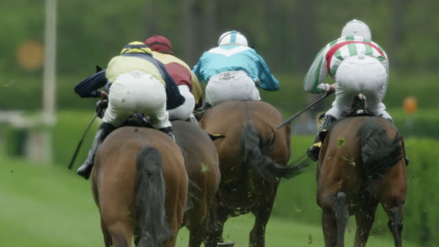 stockvideo's en b-roll-footage met slow motion gallop horse race, home straight, group of horses from behind, total shot - jockey