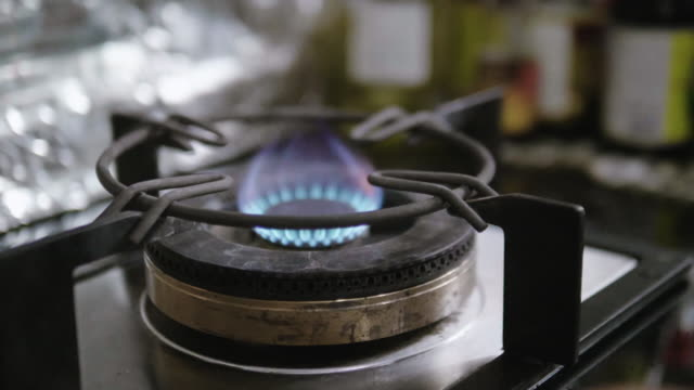 Slow motion : Gas Stove with Blue Flame