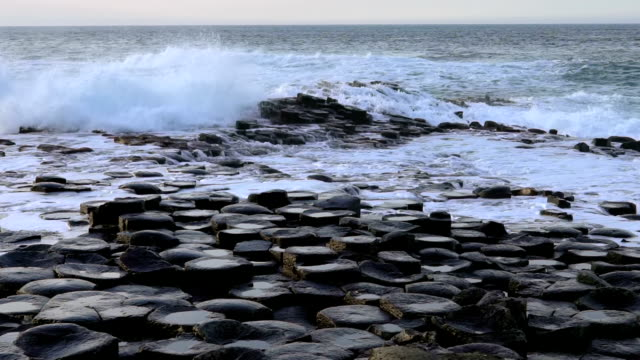 slow motion giant's causeway in northern ireland - northern ireland stock videos & royalty-free footage