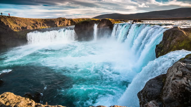 slow motion godafoss waterfall - iceland - waterfall stock videos & royalty-free footage