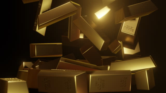 slow motion gold bars stack falling on ground black background - stack stock videos & royalty-free footage