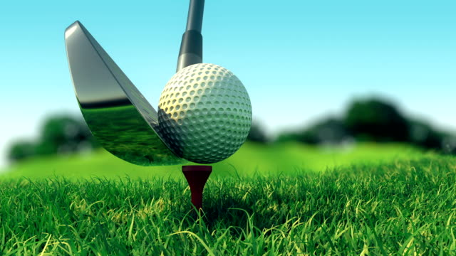 vídeos de stock e filmes b-roll de slow motion golf swing - golfe