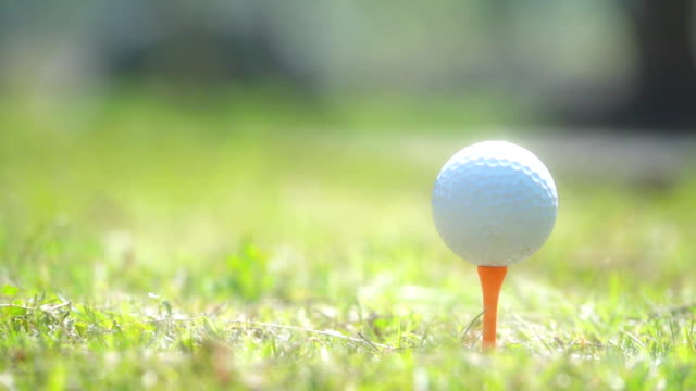 vídeos de stock e filmes b-roll de hd slow motion: golfer hitting golf ball - golfe