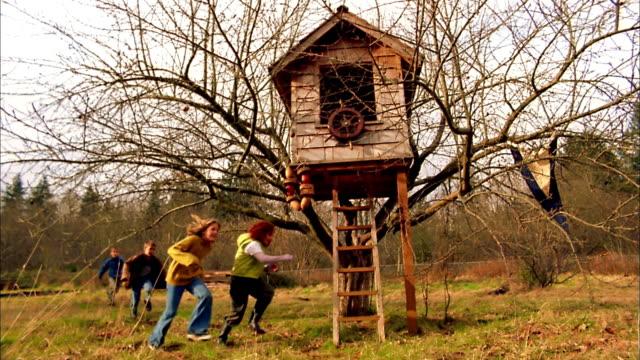 vídeos de stock, filmes e b-roll de slow motion group of children running around tree house in field / fall city, washington - treehouse