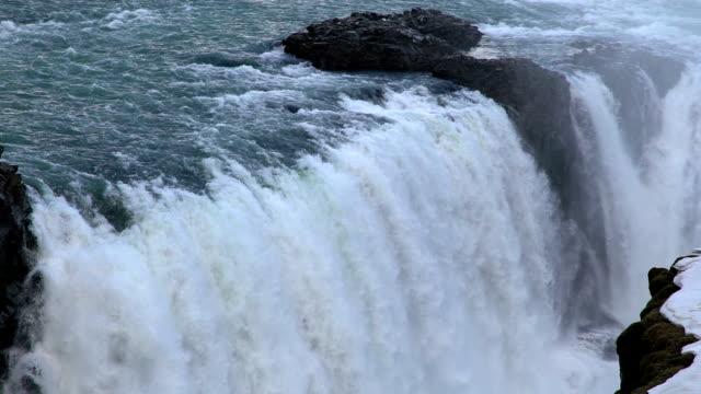 Slow Motion: Gulfoss Golden Falls waterfall Iceland in winter