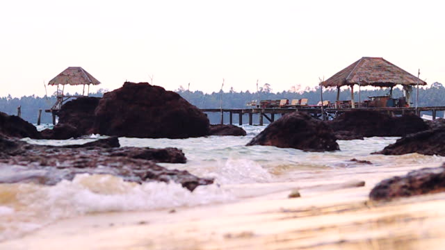 slow motion hd: sea bridge in koh mak, province trat in thailand. - trat province stock videos and b-roll footage