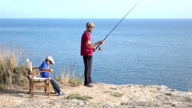 Slow Motion HD Video Of Father And Son Fishing
