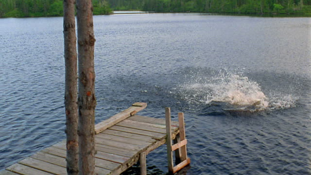 Slow motion high angle boy running and jumping cannonball style off end of dock into lake / Nova Scotia, Canada