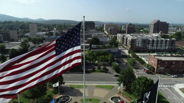 slow motion high angle view over a town in pennsylvania - pennsylvania stock videos and b-roll footage
