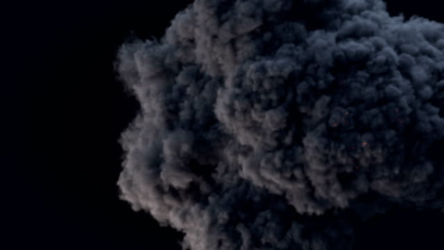 slow motion highly realistic fire explosions with smoke and alpha matte to compose. 3d rendering - smoke physical structure stock videos and b-roll footage